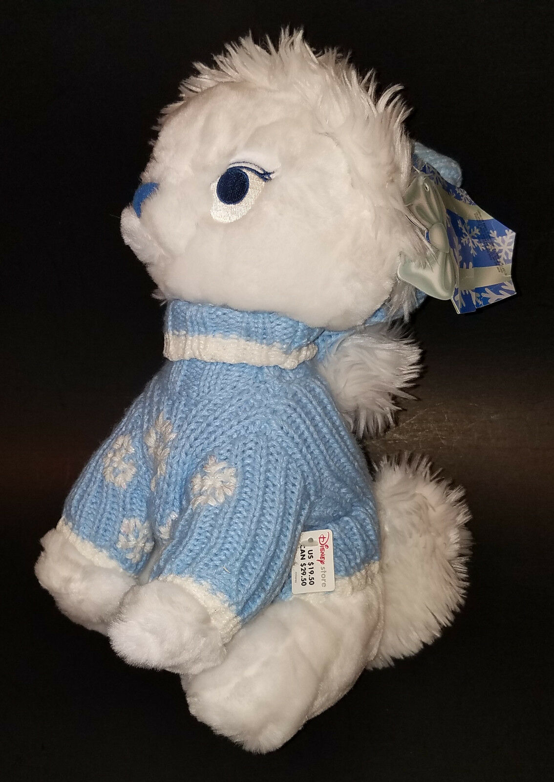 """Disney Store Exclusive Aristocats Marie Cat 12"""" Wearing Blue Sweater Hat Winter image 2"""