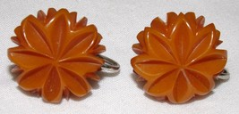 Vtg Bakelite Screw on Earrings Jewelry Womens Costume Flowers Starburst - $26.07