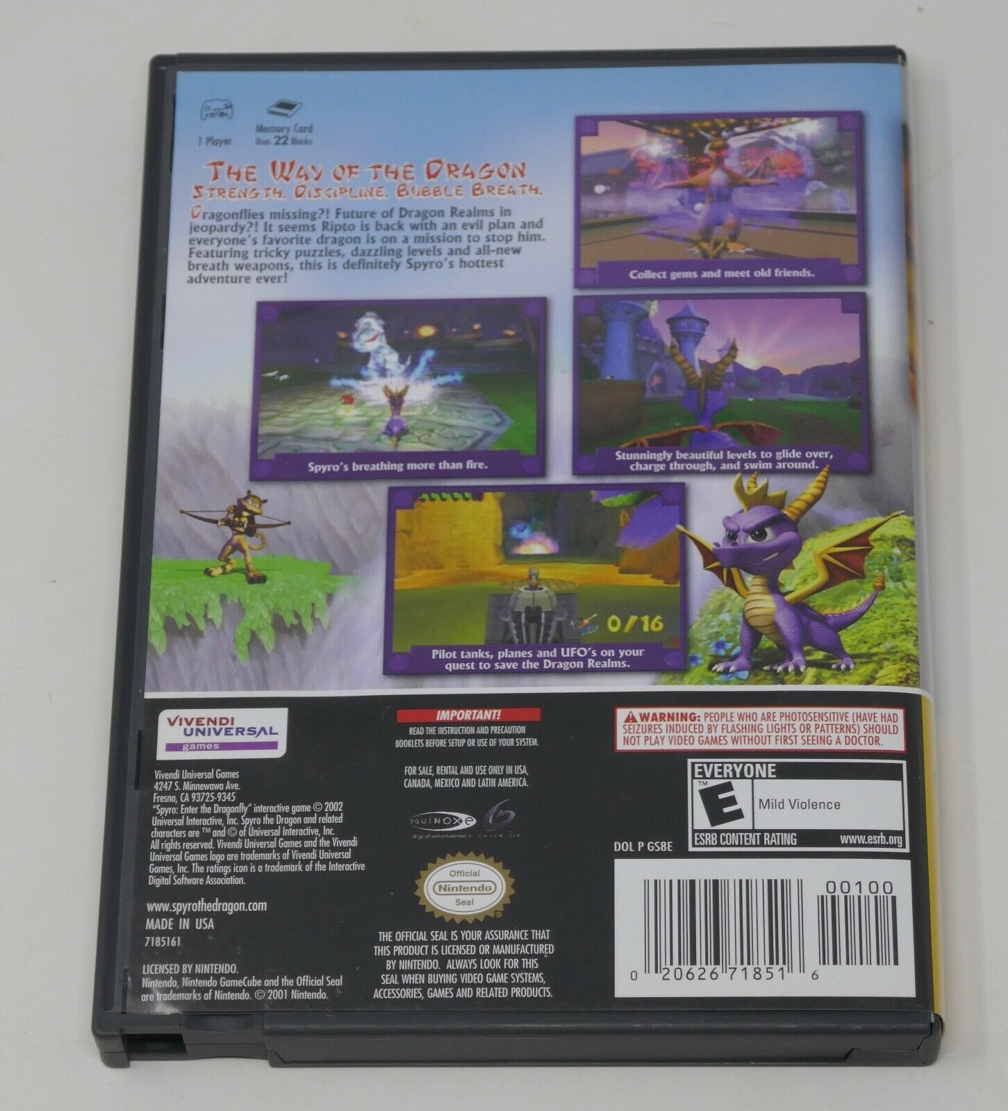 Spyro: Enter the Dragonfly (Nintendo GameCube PLayer's Choice, 2002) COMPLETE