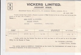 Vickers Limited London 1940-41 Ordinary Stock Final Dividend Receipt Ref... - $7.55