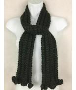Handmade Hand Knit Green Textured Soft Chunky Yarn Long Skinny Winter Sc... - $15.72