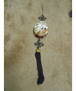 -Great CHINESE Handpainted Wood Shell WALL HANGER with Tassels - $24.34
