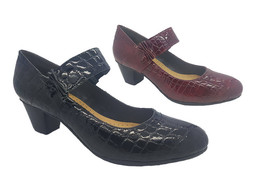Ladies Shoes MG Pax Black or Wine Patent Croc Leather Mary Jane Heels Size 6-10 - $58.25