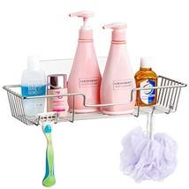 SANNO Adhesive Shower Caddy with Hooks,Bath Shelf Storage Combo Organize... - $14.24