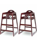 2 Pack - Ready-to-Assemble Restaurant Wood High Chair with Mahogany Finish - $123.65