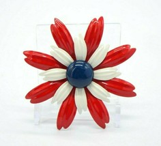 Red White Blue Enamel Flower Mid Century Flower Power Pin Brooch Vintage (B) - $29.69