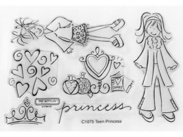 Close to My Heart Teen Princess Clear Cling Acrylic Stamp Set #C1075