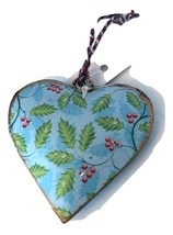 Holly  and Snowflake  Heart Ornament-Holiday! - $8.54