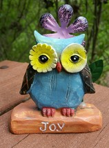 Resin Blue Owl Inspirational Figurine Distressed - $7.50