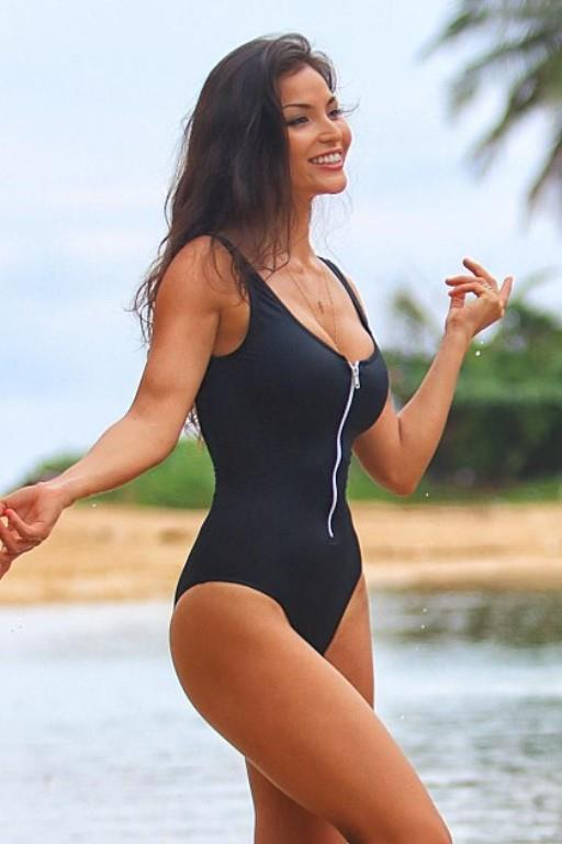 97c85defe1a9 Ujena Sexy Scoop Zip Black 1-Piece Swimsuit and 33 similar items. S l1600