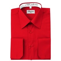 BERLIONI ITALY MEN'S PREMIUM FRENCH CONVERTIBLE CUFF SOLID DRESS SHIRT RED