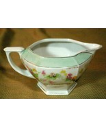 MZ Austria Antique Hexagon Shape Floral And Gold Footed 8 oz Creamer - $6.92