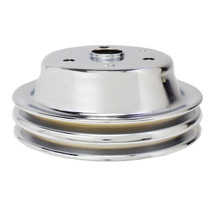 CHEVY SMALL BLOCK DOUBLE-GROOVE STEEL LONG WATER PUMP CRANKSHAFT PULLEY CHROME image 1