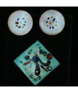 Vintage Astratto Medio Secolo Moderno Rame Blu Acqua Smalto Rosa Pin Ore... - $53.98