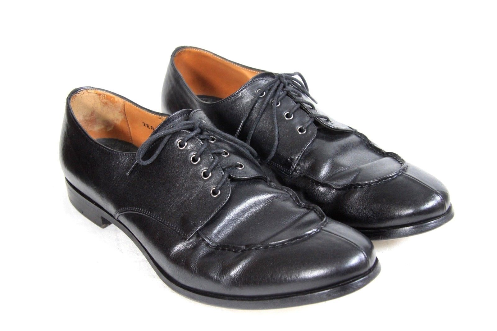 PRADA Black Leather Split Moccasin Toe Lace Up Oxford Dress Casual Shoes Mens 8