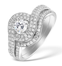 White CZ Round Cut 14k White Gold Fn 925 Fashion Engagement & Wedding Ring Set - $78.99