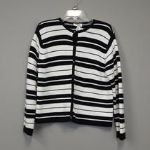 Talbots black & white stripe 100 % cotton cardigan sweater size Medium - $24.97