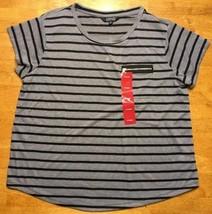 Ellen Tracy Women's Gray & Black Striped Pocket Short Sleeve Shirt - Siz... - $11.29