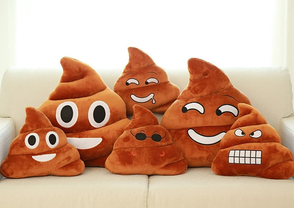 StylesILove Emoji Smiley Poop Face Plush Stuffed Toy Throw Pillow, 2 Sizes (Medi