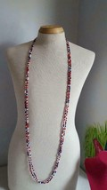 "PATRIOTIC JULY 4TH 58"" 2 SRAND RED WHITE BLUE GLASS BEADED NECKLACE, VIN... - $9.89"