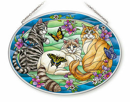 Tiffany Garden Cat Sun Catcher AMIA Large Oval Hand Painted Glass New Bu... - €30,65 EUR