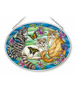 Tiffany Garden Cat Sun Catcher AMIA Large Oval Hand Painted Glass New Butterfly  - $33.65
