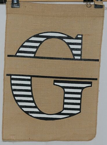 Kate Winslet Brand Brown Burlap Monogram Black White G Garden Flag