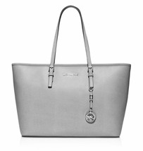 NWT Michael Kors Jet Set Zip Top Multifunction Travel Tote GREY Leather ... - $199.90