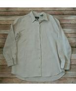 Liz Claiborne Women Shirt 100% Irish Linen Size Medium Made in Macedonia - $17.08