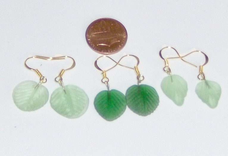 Handcraft  Earrings with Three Styles of Green Leaves, gold Plated French Hooks