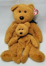 """TY Beanie Buddy - Fuzz the Bear Pair - 1999 - 13.5 """" and 9"""" Great Condition BP1 - $11.00"""