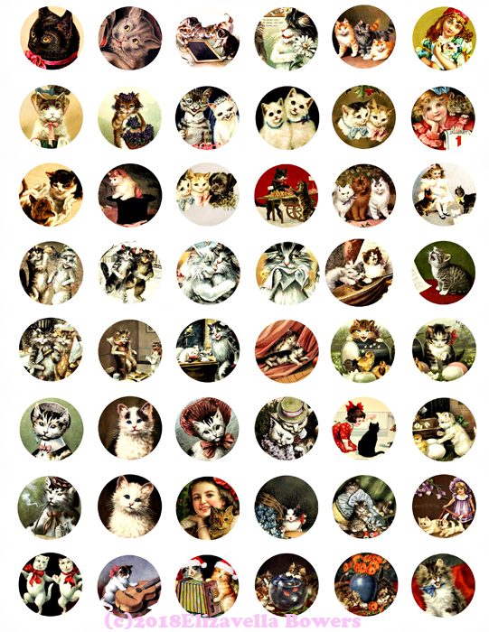 kitten cats vintage art clip art digital download collage sheet 1 inch circles v
