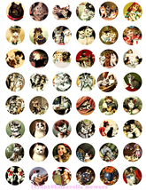 kitten cats vintage art clip art digital download collage sheet 1 inch c... - $3.99