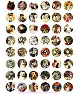 kitten cats vintage art clip art digital download collage sheet 1 inch c... - $3.99