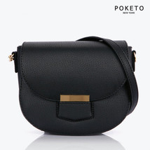 [POKETO] Alexandra Half Moon Crossbody Bag Mini Gold Shoulder Tote Women... - $72.55