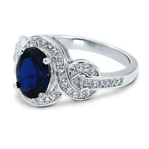 7.36 CARAT STUNNING MICRO PAVE 14K OVAL WHITE GOLD BLUE SAPPHIRE RING SI... - £278.84 GBP
