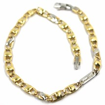 "18K YELLOW WHITE GOLD BRACELET FLAT MARINER OVAL ROUNDED LINKS, 20.5 cm, 8.1"" image 1"