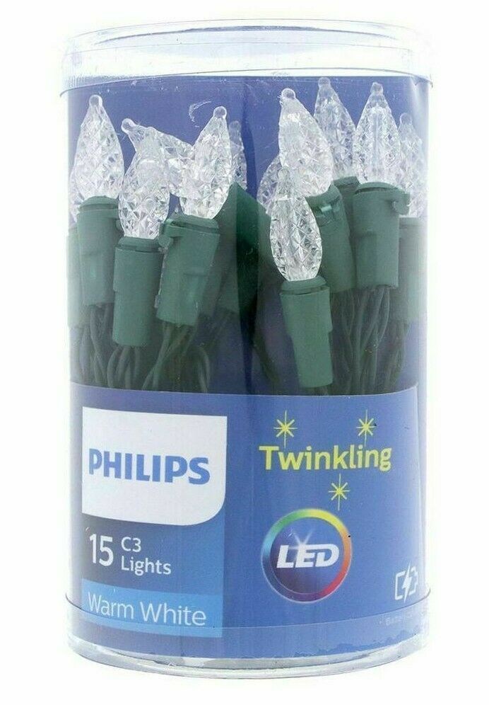 Philips 15ct Christmas LED C3 Battery Operated String Lights Warm White Twinkle
