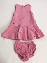 Gymboree Chelsea Girl 3T Pink Corduroy Floral Jumper Dress Bloomers Outf... - $10.99