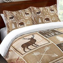 Ivory Tan Brown Cabin Themed Pillow Moose Brown Bear Pattern Pine Trees - $77.99