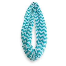 Turquoise White Chevron Stripped Infinity Scarf Loop Sheer Wrap Scarves - $9.49