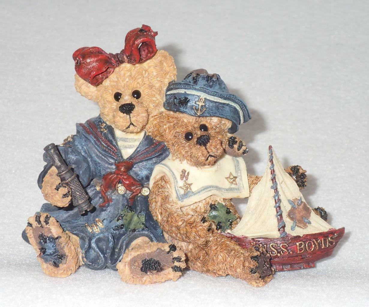 Boyd Bearstone Resin Bears 1998 Elvira and Chauncey Fitzbruin Shipmate Figurine
