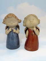 Pair Hand Painted Pottery Clay Angels 6.5 Inches Tall - $26.72