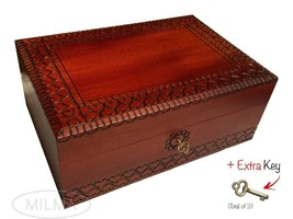 Large Handmade HEART Wooden Box Jewelry Box Keepsake Lock &  Key Made in... - €45,06 EUR