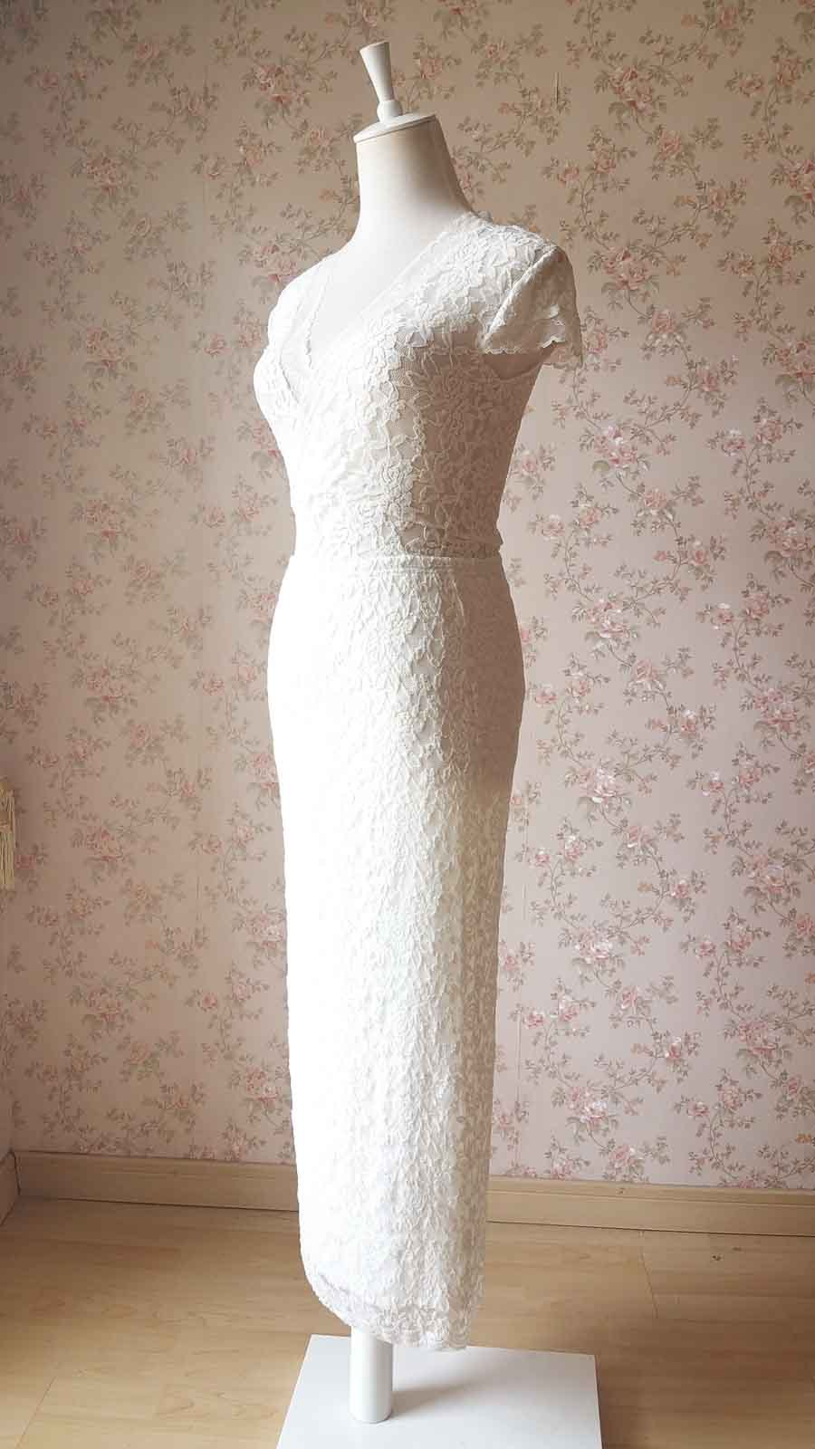 Ivory Lace Maxi PENCIL SKIRT Ivory White Gypsy Boho LACE Long Asymmetric NWT