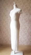 Ivory Lace Maxi PENCIL SKIRT Ivory White Gypsy Boho LACE Long Asymmetric NWT image 2