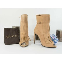 Gucci Scamosciato Camelia Kid Suede High Heel Open Toe Fringe Booties Sz... - $390.56