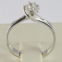 WHITE GOLD RING 750 18K, SOLITAIRE, STEM CRISS CROSSED, DIAMOND CARAT 0.32 image 4
