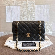 NEW AUTH CHANEL 2019 SMALL Quilted Lambskin Classic Black Double Flap Ba... - $5,299.99