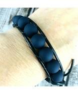 Black Leather Matte Navy Blue Bead Silver Button Clasp Bracelet Large Ad... - $29.69